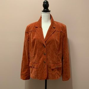 Burnt Orange Corduroy Blazer with Accent Buttons